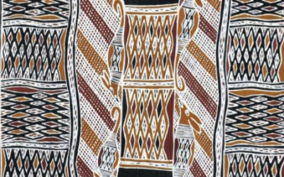 Aboriginal Bark Painting and Larraktifj from Yirrkala, northeast Arnhem Land