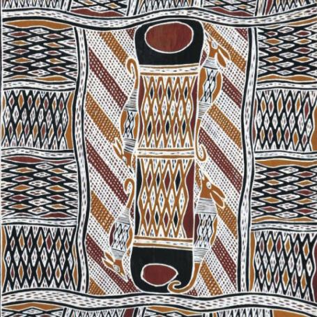 Aboriginal Bark Painting and Larraktifj from Yirrkala, northeast Arnhem Land